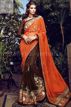 Brown and orange graceful wedding saree