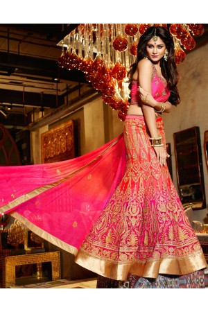 Net Lace Hot Pink and Red wedding lehenga