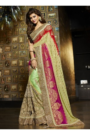 Absolute multi color viscose on net wedding saree