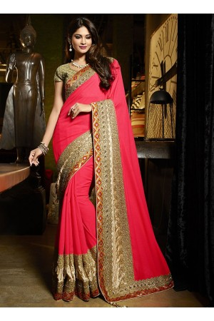 Famed red viscose Art silk wedding saree