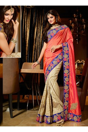 Fascinator light salmon viscose on crepe silk wedding saree