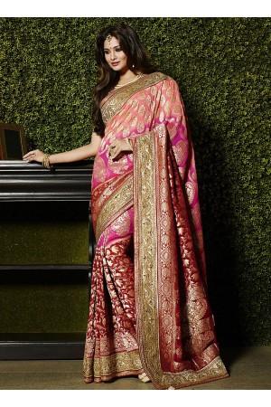 Gleeful multi color viscose wedding saree