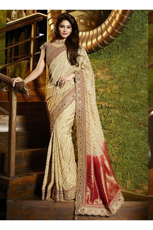 Hegemonic beige viscose wedding saree