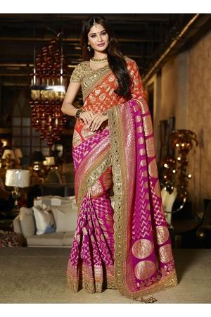 Dark magenta and orange viscose wedding saree