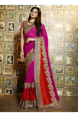 Legendary dark magenta satin georgette wedding saree