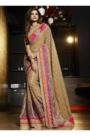 Penchant cream brasso on art silk wedding saree