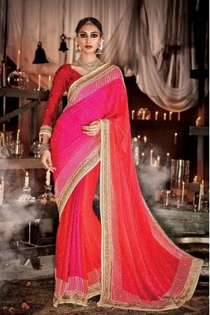 Winsome Satin Embroidered Work Wedding Designer Saree
