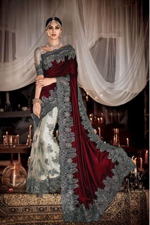 Best Patch Border Work Velvet Designer Saree