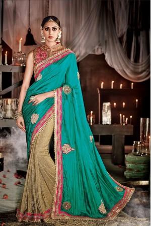 Ravishing Fancy Fabric Patch Border Work Designer Saree