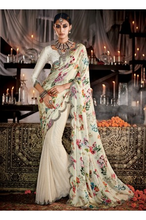 Haute Cream Print Work Designer Saree