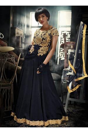 Net Black Embroidered Work Designer Gown