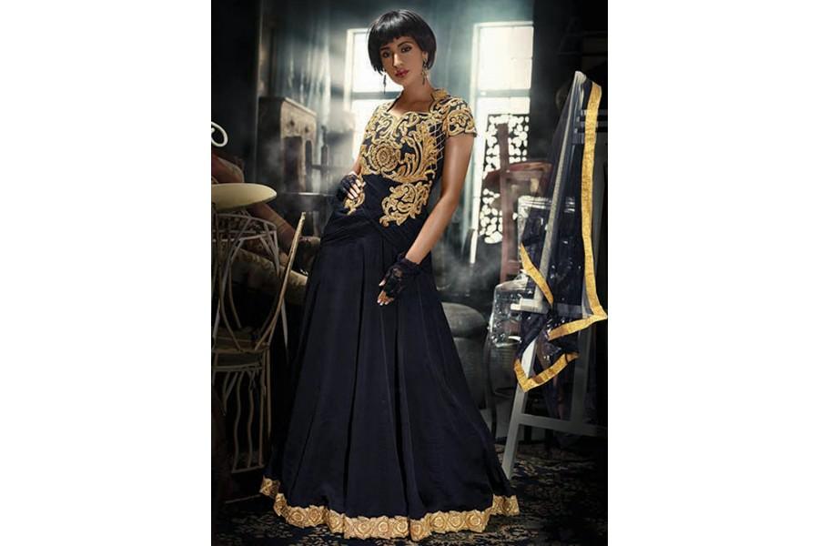 4a74239d01b Net Black Embroidered Work Designer Gown
