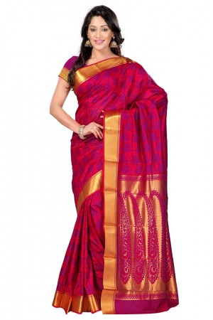 Nandani Silk Mordern Paisley Rich Zari Pallu Art saree-Red