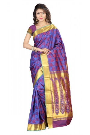 Nandani Silk Mordern Paisley Rich Zari Pallu Art saree-Royal Blue