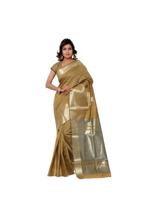 Banarasi Pure Viscose Cotton Silk Exclusive Zari Daman Saree-Beige