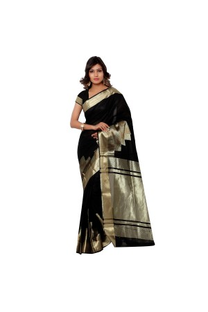 Banarasi Pure Viscose Cotton Silk Exclusive Zari Daman Saree-Black