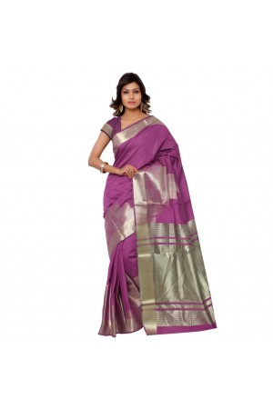 Banarasi Pure Viscose Cotton Silk Exclusive Zari Daman Saree-Light Megenta
