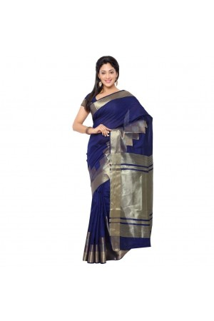 Banarasi Pure Viscose Cotton Silk Exclusive Zari Daman Saree-Navy Blue