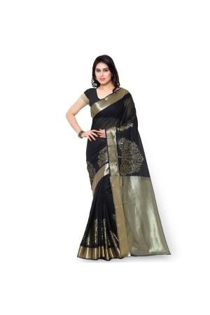 Pure Cotton Exclusive zari Desginer Daman Banarasi Saree-Black