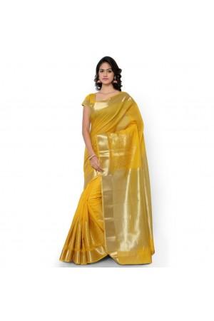 Pure Cotton Exclusive zari Desginer Daman Banarasi Saree-Gold