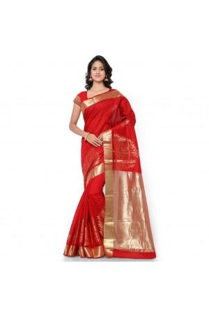 Pure Cotton Exclusive zari Desginer Daman Banarasi Saree-Red