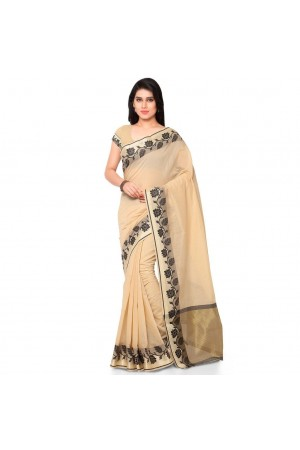 Silk woven Chanderi Sico Plain Saree-Cream