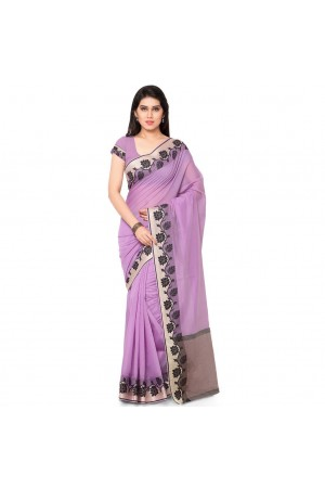 Silk woven Chanderi Sico Plain Saree-Lavender