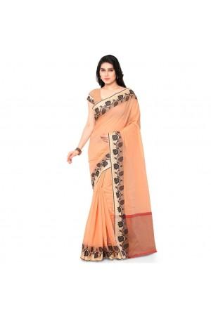 Silk woven Chanderi Sico Plain Saree-Orange