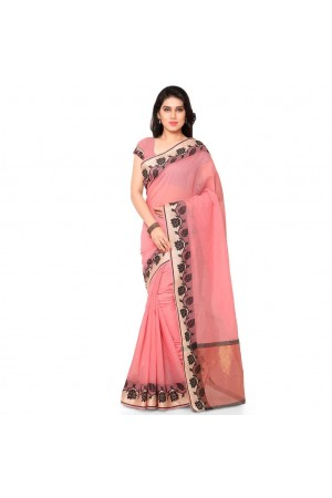 Silk woven Chanderi Sico Plain Saree-Peach