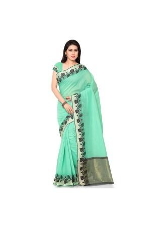 Silk woven Chanderi Sico Plain Saree-Rama