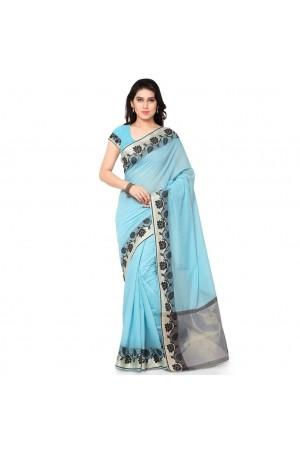 Silk woven Chanderi Sico Plain Saree-Sky Blue