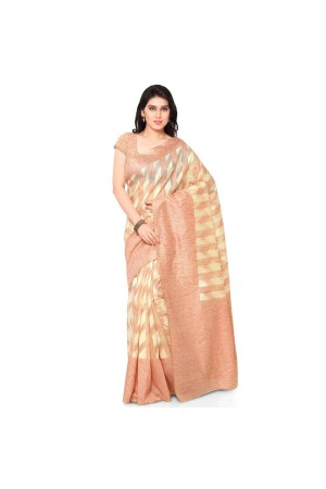 Silk woven Net Chanderi Sico saree-Orange