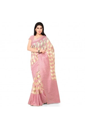 Silk woven Net Chanderi Sico saree-Peach