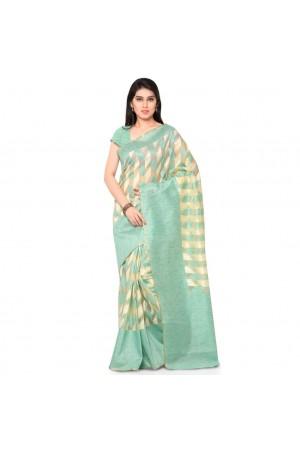 Silk woven Net Chanderi Sico saree-Rama