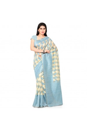 Silk woven Net Chanderi Sico saree-Sky Blue