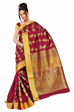 Kanchipuram Art Silk Saree Mango design With Blouse Piece-Red