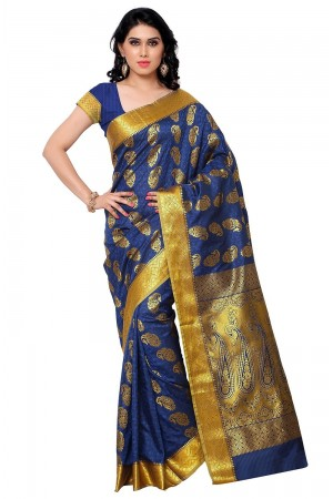 Kanchipuram Art Silk Saree Mango design With Blouse Piece-Rayal Blue