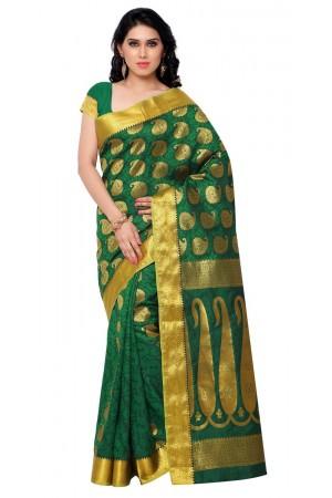 Kanchipuram Art Silk Saree With Blouse Piece-Pakistani Green