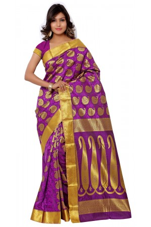Kanchipuram Art Silk Saree With Blouse Piece-Pink