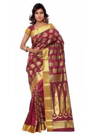 Kanchipuram Art Silk Saree With Blouse Piece-Rani