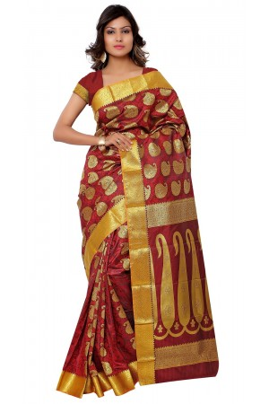 Kanchipuram Art Silk Saree With Blouse Piece-Red