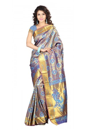 Kanchipuram Silk Full Brocade Zari Art big flower Saree-Ananda