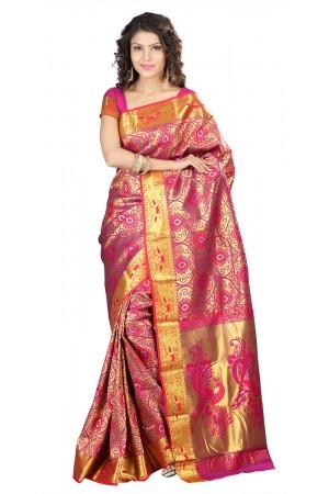 Kanchipuram Silk Full Brocade Zari Art big flower Saree-Rani