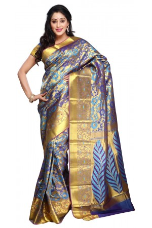 Kanchipuram Silk Full Brocade Zari Art flower Saree-Ananda