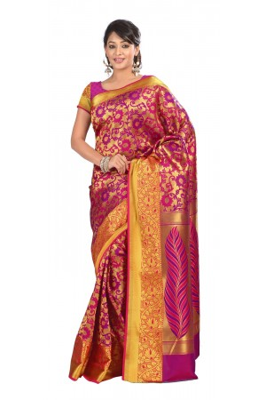 Kanchipuram Silk Full Brocade Zari Art flower Saree-Rani