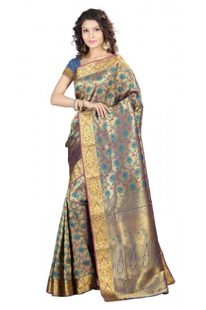 Kanchipuram Silk Full Brocade Zari lotus Saree -Rama Green