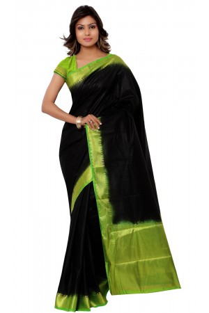 Kanjivaram Raw Silk Contrast Green Pallu Saree-Black