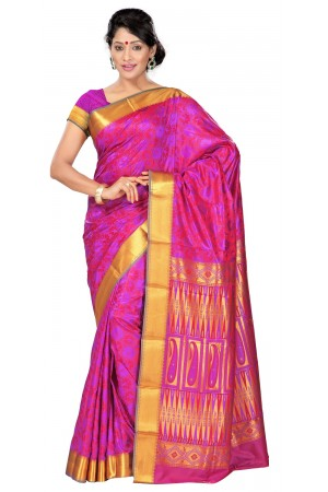 Nandani Art Silk Rich ZariPallu Emboss Art arrow saree-Violet