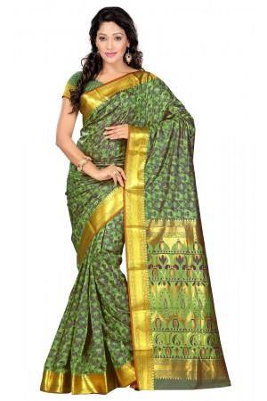 Nandani Art Silk Rich ZariPallu Emboss Art saree-Pastel Green