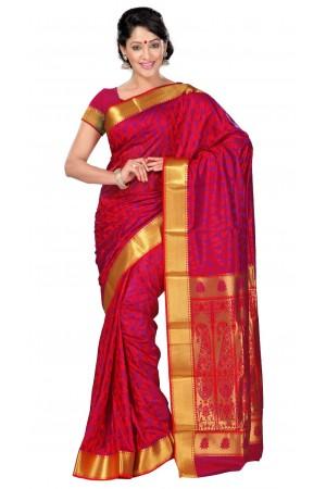 Nandani Art Silk Rich ZariPallu Emboss Art small leaf saree-Red